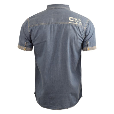 Mens Denim Shirt Smith and Jones Short Sleeve Casual Shirt(,) - Kandor Clothing Company Ltd UK