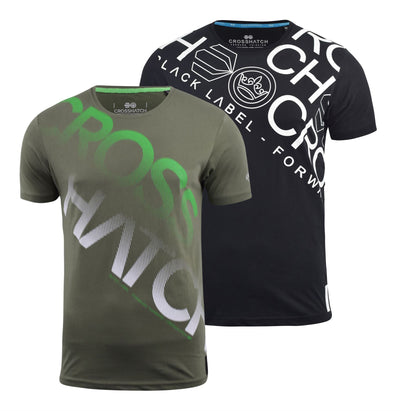 Mens Crosshatch t shirt 2 Pack Crew Neck Branded Tee Top