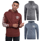 Mens Hoodie Crosshatch Sweatshirt Full Zip  Hooded Jumper Top Pullover MOREZ - Kandor Clothing Company Ltd UK