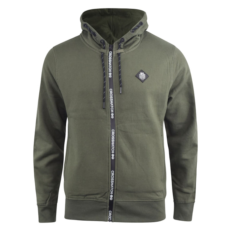 Mens Hoodie Crosshatch Full Zip Thru Hooded Plain Jumper Sweatshirt - Kandor Clothing Company Ltd UK