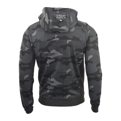 Mens Hoodie Crosshatch Camo Sweatshirt Full Zip  Hooded Jumper Top Pullover JAGA - Kandor Clothing Company Ltd UK