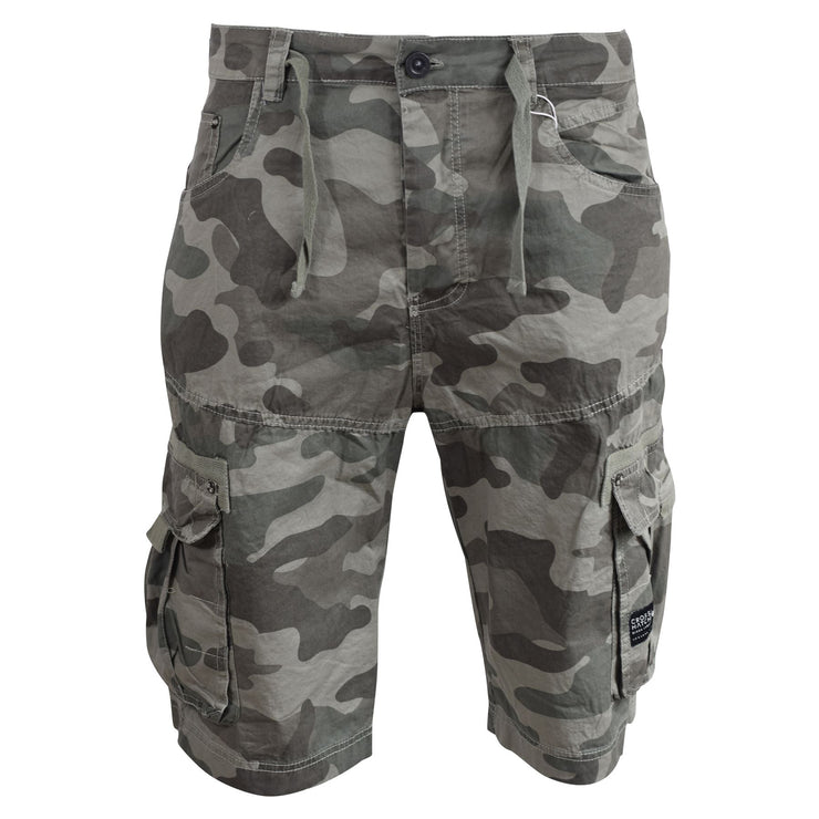 Mens Cargo Shorts Crosshatch Army Camo Utility Three Quarter Short - Kandor Clothing Company Ltd UK