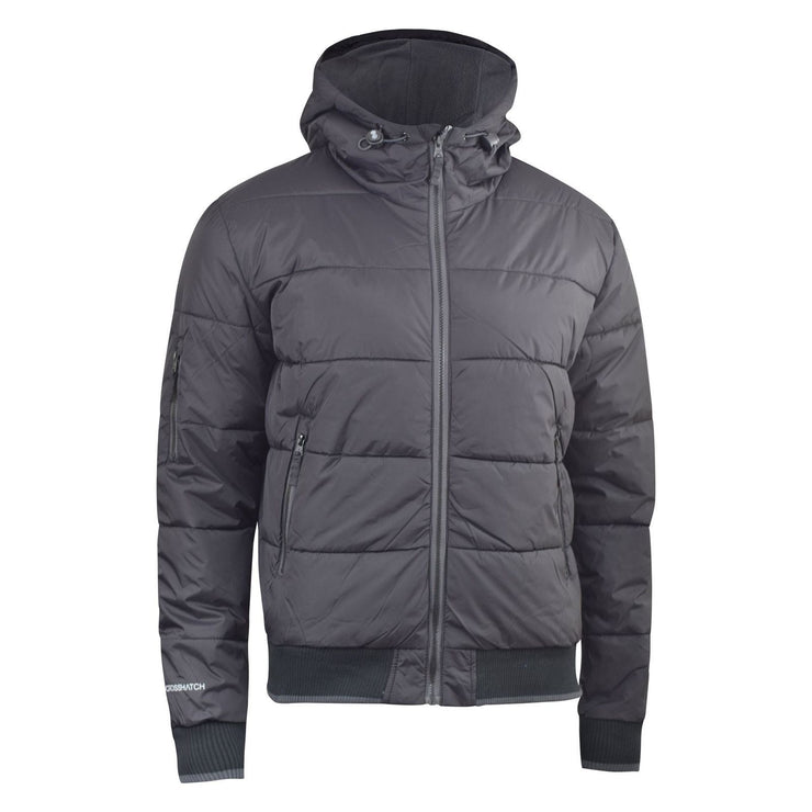 Mens Jacket Crosshatch Black Padded Puffer Hooded Jacket - Kandor Clothing Company Ltd UK