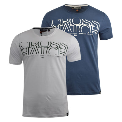 Mens T-Shirt Crosshatch Short Sleeved Panel Print Tee Top Kutdown - Kandor Clothing Company Ltd UK