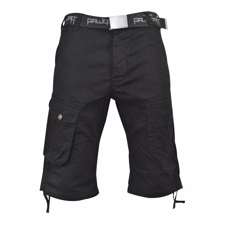 New Mens Designer Rawcraft Chinos Casual Cargo Combat Shorts Free Belt - Kandor Clothing Company Ltd UK