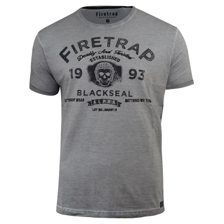 Mens Firetrap T-Shirt Bronxville Graphic Fade Wash Crew Neck Cotton Tee - Kandor Clothing Company Ltd UK
