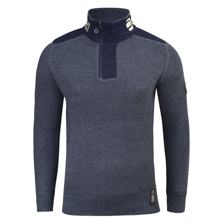 Mens Jumper Crosshatch Garforth Waffle Knitted 1/4 Zip Up Funnel Neck Sweater - Kandor Clothing Company Ltd UK