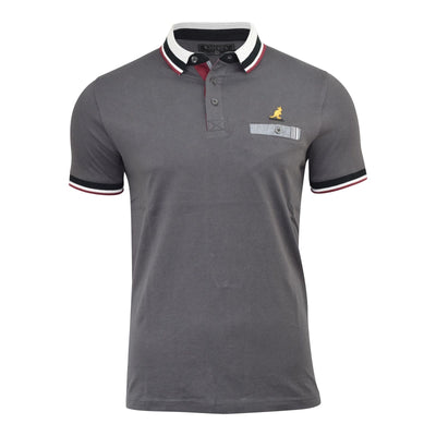 KANGOL MENS POLO SHIRT CONTRAST TRIM COLLAR COLOUR CHEST POCKET TOP MUSE - Kandor Clothing Company Ltd UK