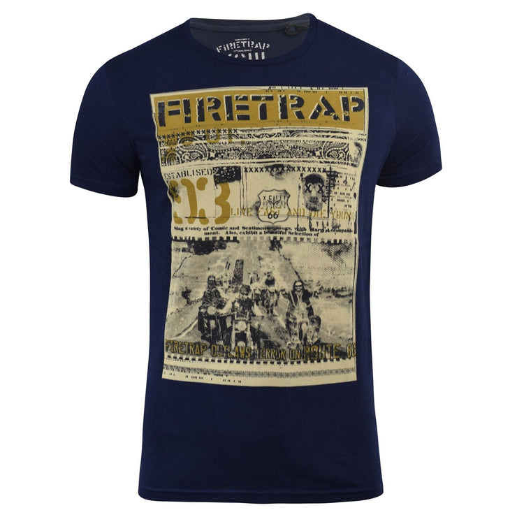 Mens T Shirt Firetrap Route 66 Printed Graphic Crew Neck Summer Tee - Kandor Clothing Company Ltd UK