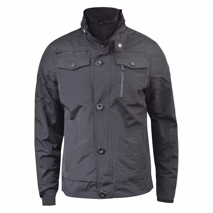 Mens Winter Jacket Crosshatch Woodrow Double Collar Zipped Utility Style Coat - Kandor Clothing Company Ltd UK
