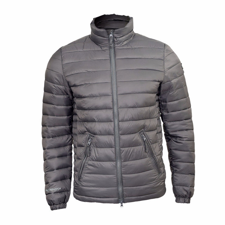 Mens Crosshatch Bomber Padded Puffer Quilted Contrast Lined Outdoor Jacket Coat - Kandor Clothing Company Ltd UK