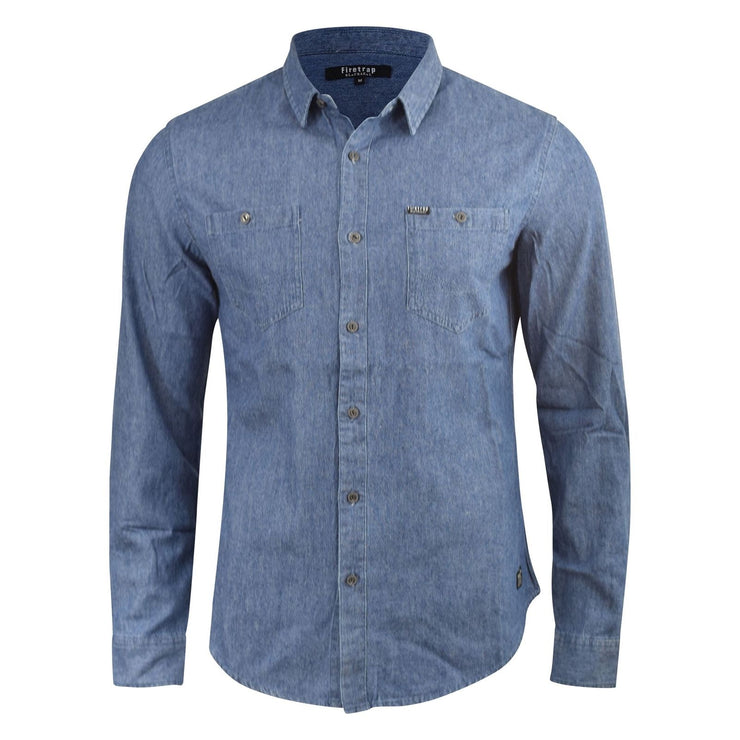 Mens Denim Shirt Firetrap Garrick Vintage Wash Long Sleeve Top S - XXL - Kandor Clothing Company Ltd UK