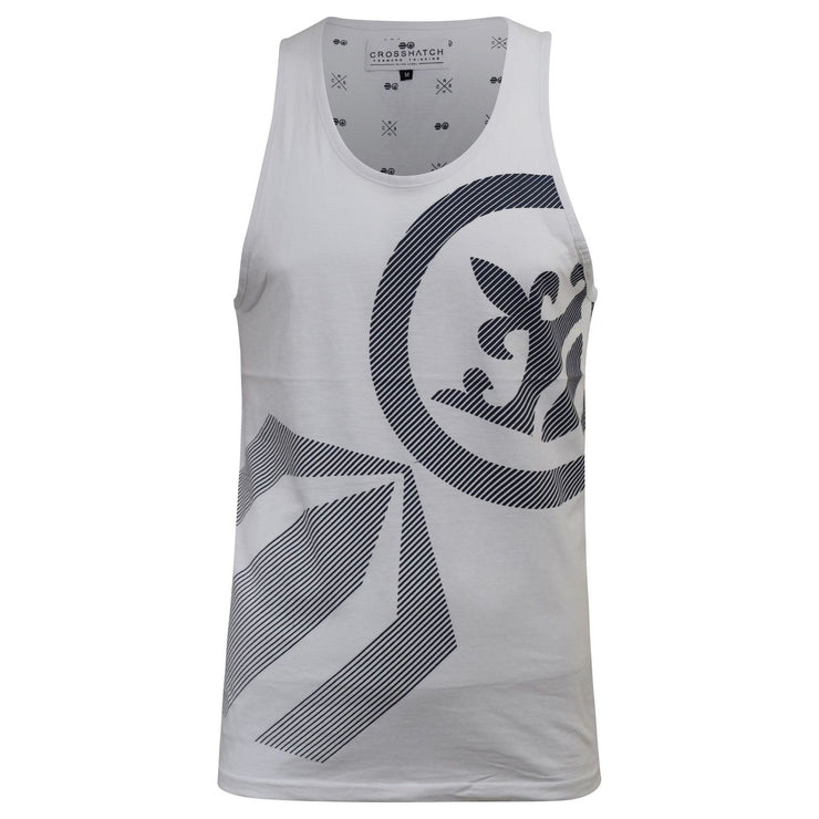 Mens Crosshatch Sleeveless Muscle Vest Tank Top Gym Casual Summer Print S-XXL - Kandor Clothing Company Ltd UK