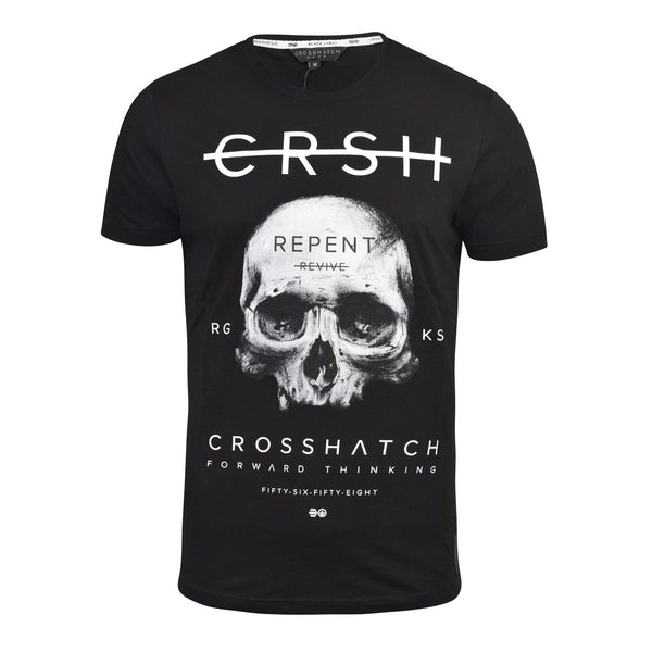 Mens T-Shirt Crosshatch Byraw Tee, Crew Neck, Regular Fit, Quality Graphic Cotto - Kandor Clothing Company Ltd UK