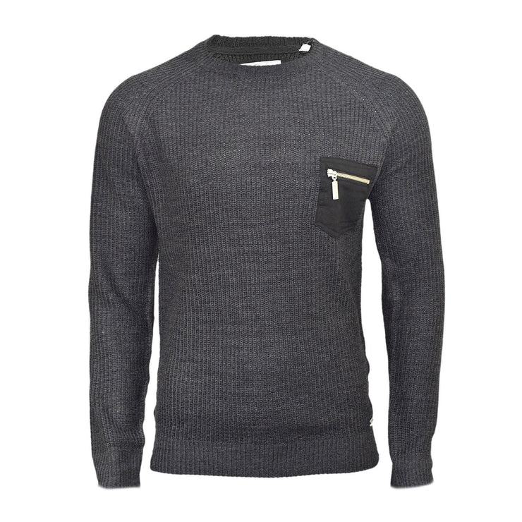 Mens Jumper Brave Soul Vulcan Knitted Crew Neck With Zipped Chest Pocket - Kandor Clothing Company Ltd UK