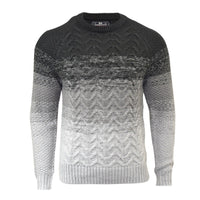 Crosshatch Mens Jumper  Knitted Crew Neck Peelback Contrast Sweater, Knitwear - Kandor Clothing Company Ltd UK