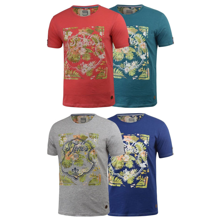 Mens T-Shirt Smith and Jones Lockerly Floral Cotton Casual Tee Summer Top - Kandor Clothing Company Ltd UK