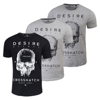 Mens T Shirt Crosshatch Graphic Cotton Crew Neck Desire Short Sleeve Tee - Kandor Clothing Company Ltd UK
