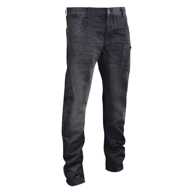 Mens Jeans Crosshatch Denim Twisted leg Tapered Regular Fit Trousers - Kandor Clothing Company Ltd UK