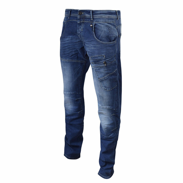 Mens Jeans Cargo Combat Pants Straight Denim By Crosshatch - Kandor Clothing Company Ltd UK