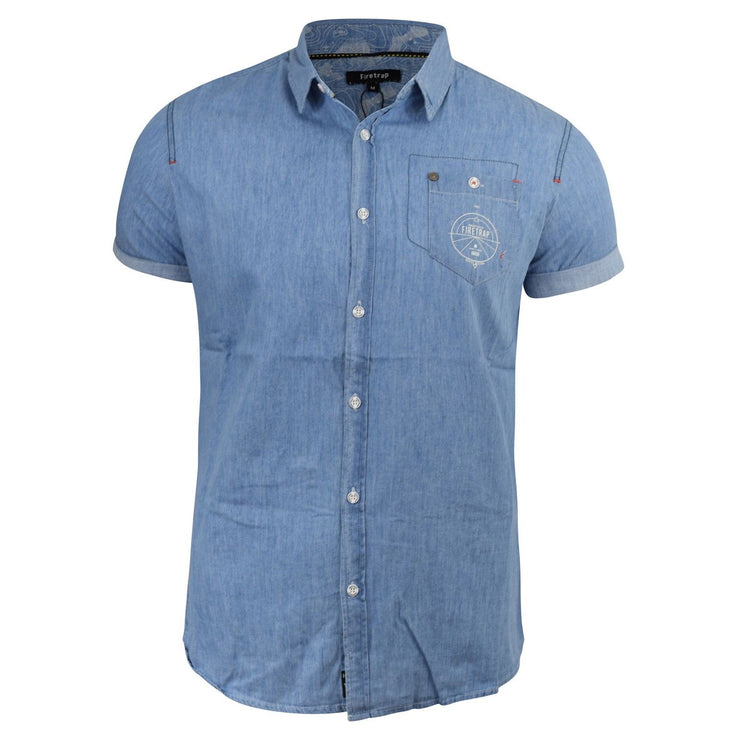 Mens Denim Shirt Firetrap Barley Chambray Collared Short Sleeve Casual Top - Kandor Clothing Company Ltd UK
