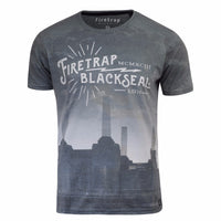 Mens T Shirt Firetrap Graphic Cotton Crew Neck Selah Short Sleeve Tee - Kandor Clothing Company Ltd UK