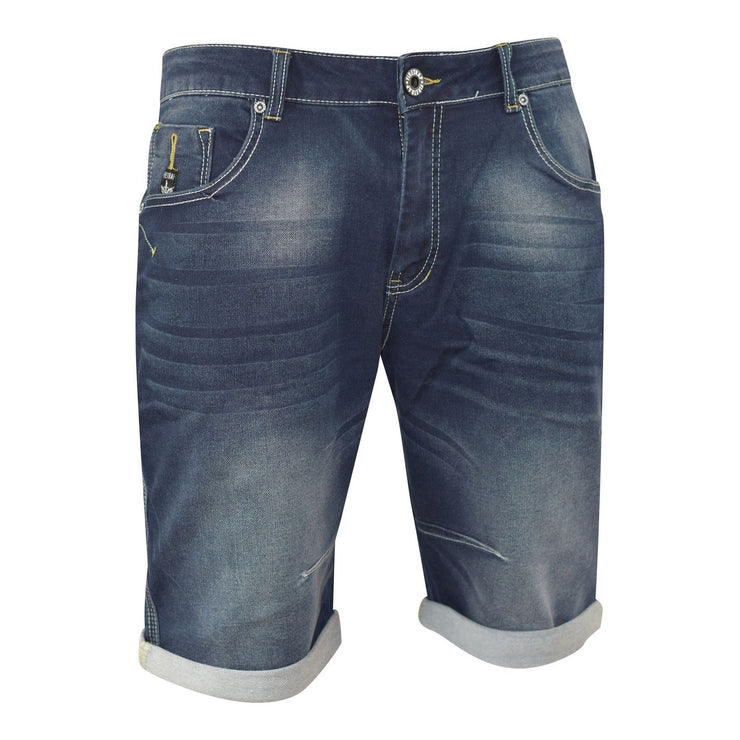 Mens Denim Short Summer Designer Firetrap Holton Turn Up Denim Knee Length Pants - Kandor Clothing Company Ltd UK