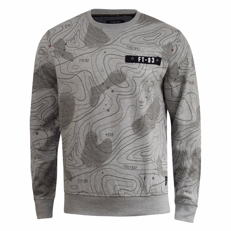 Mens Jumper Firetrap Crew Neck Print Sweatshirt Radison Sweat Top Alt - Kandor Clothing Company Ltd UK