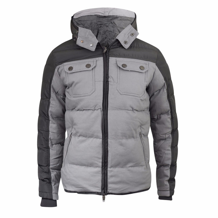 Mens Jacket Padded Winter Hooded Smith and Jones Zip Parka Coat - Kandor Clothing Company Ltd UK