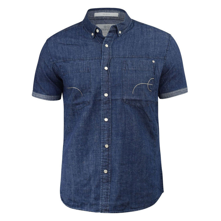 Mens Denim Shirt Crosshatch Chest Pockets Chank Short Sleeve Classic Designer To - Kandor Clothing Company Ltd UK