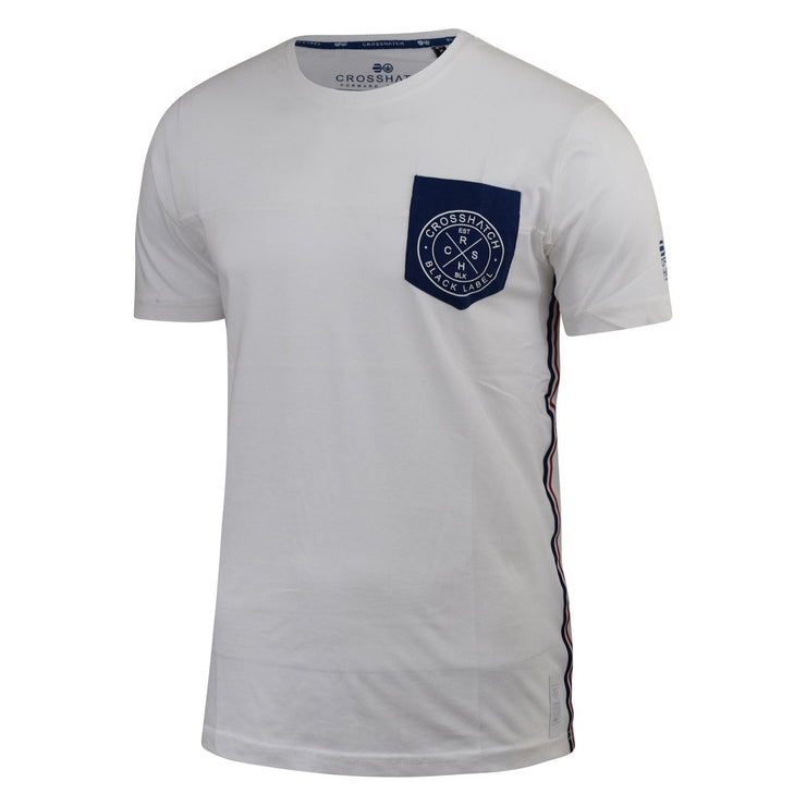 New Mens Crosshatch Mens Side Trim T Shirt Brandt Chest Pocket Printed Tee Top S - Kandor Clothing Company Ltd UK