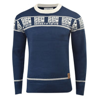 Crosshatch Mens Jumper  Knitted Crew Neck TXT Contrast Sweater, Knitwear - Kandor Clothing Company Ltd UK