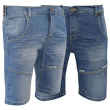 Firetrap Mens Denim Shorts New Designer Knee Length Corry Embossed Jeans Pants - Kandor Clothing Company Ltd UK
