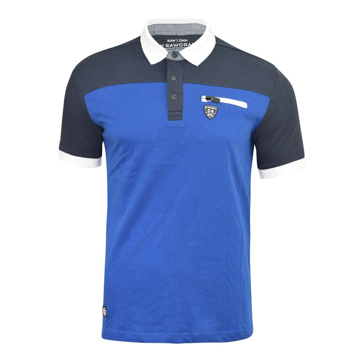 RAWCRAFT MENS POLO SHIRT CONTRAST TRIM COLLAR COLOUR CHEST POCKET TOP - Kandor Clothing Company Ltd UK