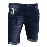 Mens Denim Short Summer Designer Firetrap Effra Turn Up Denim Knee Length Pants - Kandor Clothing Company Ltd UK