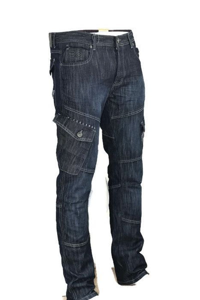 Mens Jeans New Cargo Combat Pants Straight Denim By Crosshatch - Kandor Clothing Company Ltd UK