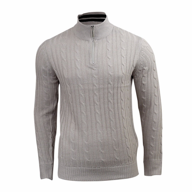 Men's Jumper | Brave Soul Zip Funnel Neck Knitwear Sweater - Kandor Clothing Company Ltd UK