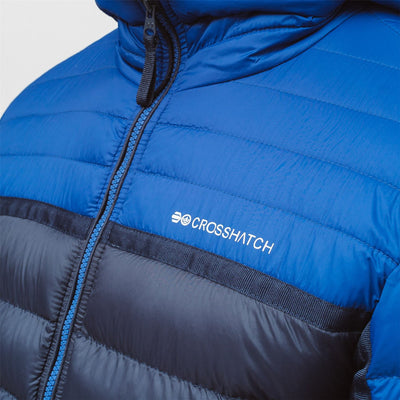 Mens Jacket Crosshatch  Contrast Coat Bubble Quilted Puffer Padded Hooded Pyffan - Kandor Clothing Company Ltd UK