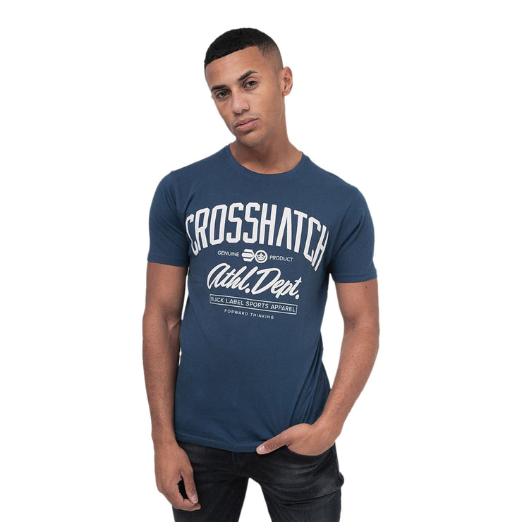 Mens Crosshatch T-shirt Crew Neck TAKKA Top Tee