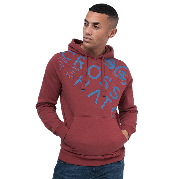 Mens Hoodie Crosshatch Sweatshirt Diagonal Print Jumper Top Pullover LAPOUT