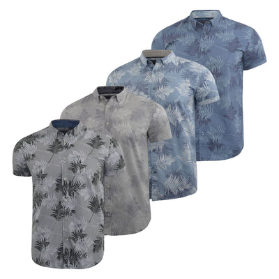 Mens Floral Shirt Audley Short Sleeved Cotton Blend Casual Top - Kandor Clothing Company Ltd UK