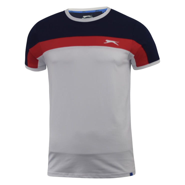 Mens T-shirt Contrast Slazenger Crew Neck  Tee  Top Dominic - Kandor Clothing Company Ltd UK