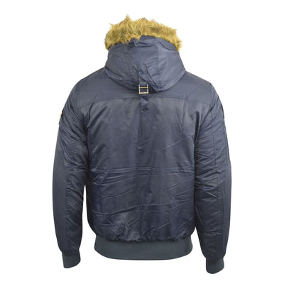 Mens Crosshatch Jacket Bomber Faux Fur Hood Quilted Lined Parka Coat - Kandor Clothing Company Ltd UK