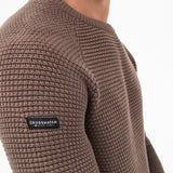 Mens Jumper Crosshatch Crew Neck Knitwear Sweatshirt Sweater Kermer