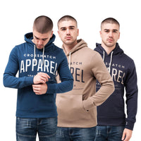Mens Hoodie CrosshatchSweatshirt  Hooded Jumper Top Pullover Flatleys - Kandor Clothing Company Ltd UK
