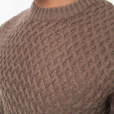 Mens Jumper Crosshatch Crew Neck Knitwear Sweatshirt Sweater Hopeton - Kandor Clothing Company Ltd UK