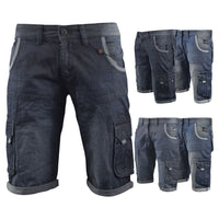 Mens Denim Short Crosshatch Combat Casual Cargo with Pockets - Kandor Clothing Company Ltd UK