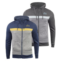 Mens Hoodie Crosshatch Sweatshirt Full Zip  Hooded Jumper Top Pullover MORIT
