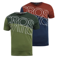 Mens T-Shirt Crosshatch Short Sleeved Panel Print Tee Top Atkinsons - Kandor Clothing Company Ltd UK