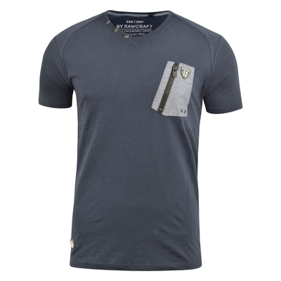 Mens T-Shirt Rawcraft Vee neck Tee Top ZaneLester - Kandor Clothing Company Ltd UK
